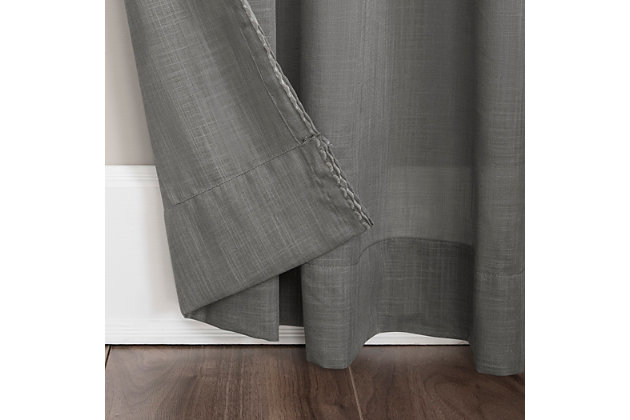 """Archaeo Embroidered Border Cotton Blend Sheer 50"""" x 84"""" Gray Curtain, Gray, large"""