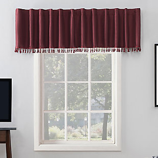 """Sun Zero Evelina Faux Dupioni Silk Beaded Tassels Thermal Extreme 100% Blackout 50"""" x 17"""" Bordeaux Red Back Tab Curtain Valance, Bordeaux Red, rollover"""