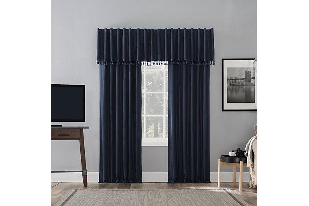 "Sun Zero Evelina Faux Dupioni Silk Beaded Tassels Thermal Extreme 100% Blackout 50"" x 17"" Navy Blue Back Tab Curtain Valance, Navy, large"