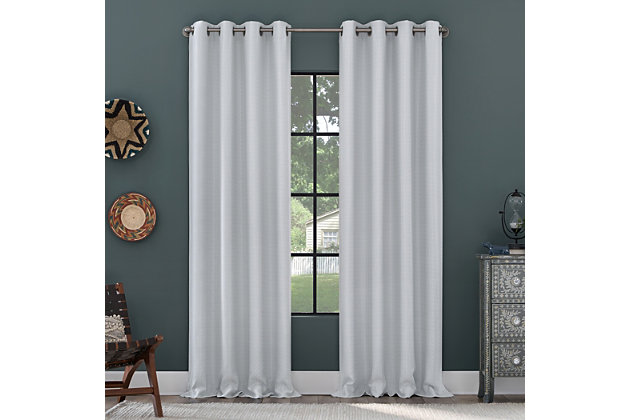 """Clean Window Grid Mosaic Recycled Fiber Blackout 50"""" x 96"""" White Grommet Curtain Panel, White, large"""