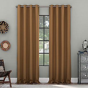"Clean Window Grid Mosaic Recycled Fiber Blackout 50"" x 84"" Pecan Grommet Curtain Panel, Pecan, large"