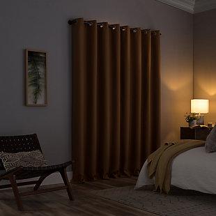 "Clean Window Grid Mosaic Recycled Fiber Blackout 50"" x 84"" Pecan Grommet Curtain Panel, Pecan, large"