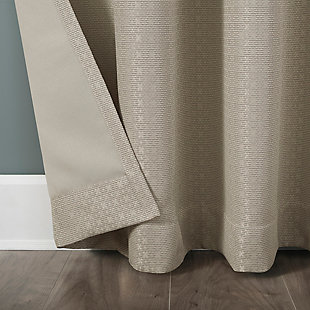 """Clean Window Grid Mosaic Recycled Fiber Blackout 50"""" x 84"""" Stone Grommet Curtain Panel, Stone, large"""