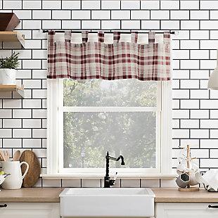 "No. 918 Blair Farmhouse Plaid Semi-Sheer 52"" x 14"" Red/Ecru Off-White Tab Top Kitchen Curtain Valance, Red/Ecru, rollover"
