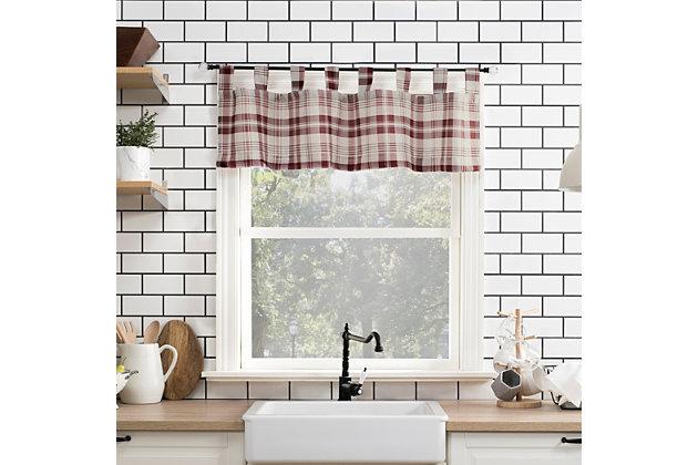 "No. 918 Blair Farmhouse Plaid Semi-Sheer 52"" x 14"" Red/Ecru Off-White Tab Top Kitchen Curtain Valance, Red/Ecru, large"