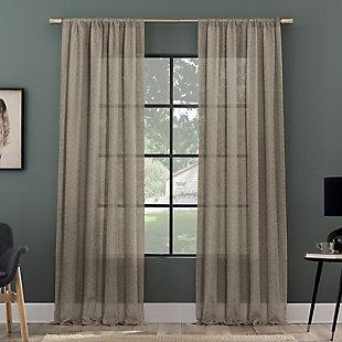 "Clean Window Subtle Foliage Recycled Fiber Sheer 50"" x 84"" Mushroom Curtain Panel, Mushroom, rollover"