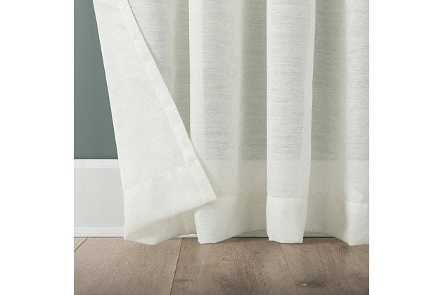 "Clean Window Subtle Foliage Recycled Fiber Sheer 50"" x 84"" Cream Curtain Panel, Cream, large"