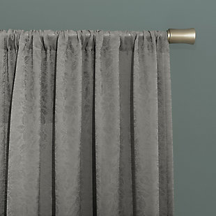 """Clean Window Subtle Foliage Recycled Fiber Sheer 50"""" x 84"""" Gray Curtain Panel, Gray, large"""