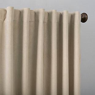 "Sun Zero Amherst Velvet Noise Reducing Thermal Extreme 100% Blackout 50"" x 63"" Ecru Off-White Back Tab Curtain Panel, Ecru, large"