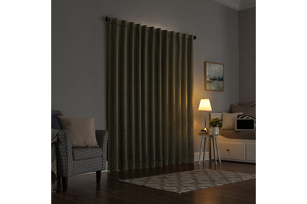 """Sun Zero Amherst Velvet Noise Reducing Thermal Extreme 100% Blackout 50"""" x 96"""" Moss Green Back Tab Curtain Panel, Moss Green, large"""