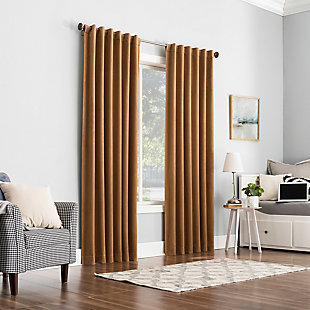 "Sun Zero Amherst Velvet Noise Reducing Thermal Extreme 100% Blackout 50"" x 84"" Pecan Back Tab Curtain Panel, Pecan, large"