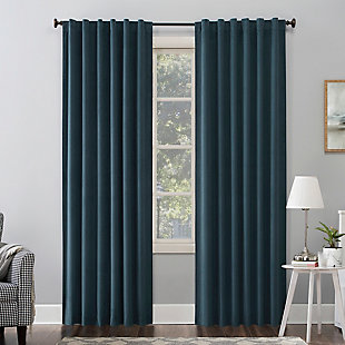 """Sun Zero Amherst Velvet Noise Reducing Thermal Extreme 100% Blackout 50"""" x 84"""" Teal Back Tab Curtain Panel, Teal, large"""