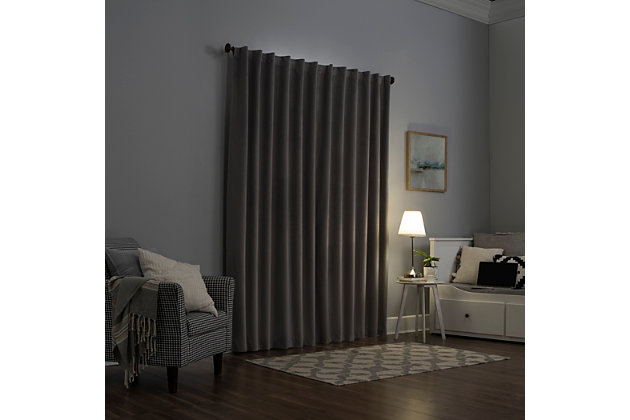 """Sun Zero Amherst Velvet Noise Reducing Thermal Extreme 100% Blackout 50"""" x 96"""" Gray Back Tab Curtain Panel, Gray, large"""