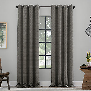 "Clean Window Textured Geometric Recycled Fiber Semi-Sheer 50"" x 84"" Gray Grommet Curtain Panel, Gray, large"