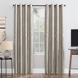 "Sun Zero Rhett Woven Strié Theater Grade Extreme 100% Blackout 52"" x 84"" Cream/Gray Grommet Curtain Panel, Cream/Gray, large"