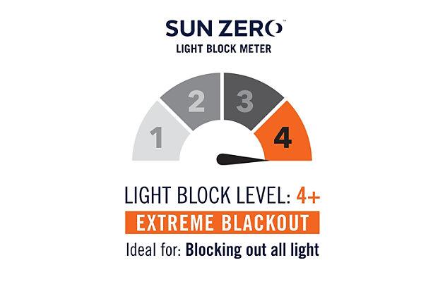 "Sun Zero Rhett Woven Strie Theater Grade Extreme 100% Blackout 52"" x 84"" Cream/Gray Grommet Curtain Panel, Cream/Gray, large"
