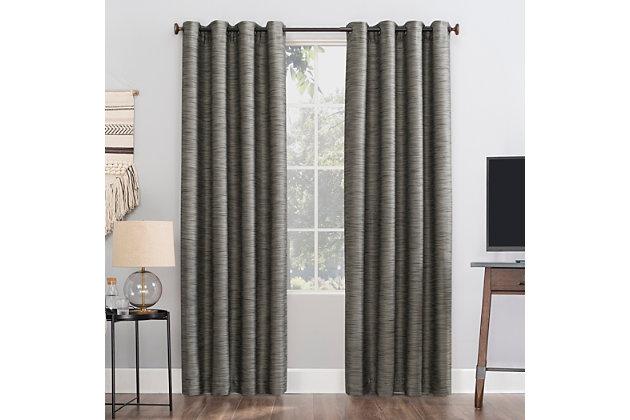 "Sun Zero Rhett Woven Strie Theater Grade Extreme 100% Blackout 52"" x 84"" Charcoal/Gray Grommet Curtain Panel, Charcoal/Gray, large"