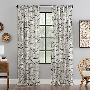 "Archaeo Jigsaw Embroidery Linen Blend 50"" x 84"" Black/Linen Curtain, Black/Linen, rollover"