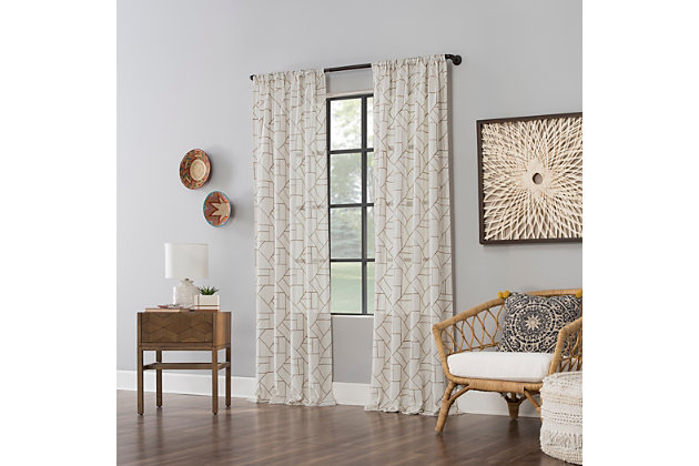 """Archaeo Jigsaw Embroidery Linen Blend 50"""" x 63"""" Mocha/Linen Curtain, Mocha/Linen, large"""