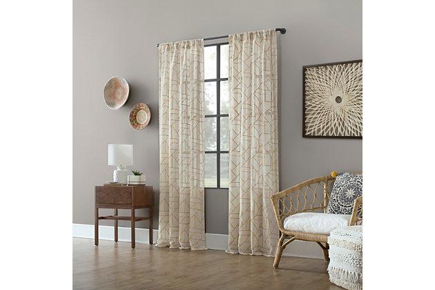 """Archaeo Jigsaw Embroidery Linen Blend 50"""" x 63"""" Gold/Linen Curtain, Gold/Linen, large"""