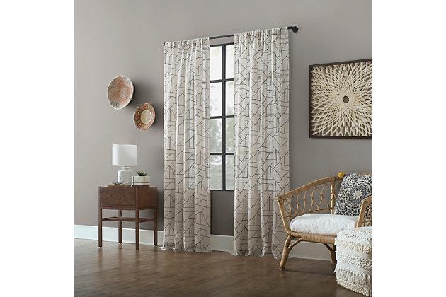 """Archaeo Jigsaw Embroidery Linen Blend 50"""" x 63"""" Gray/Linen Curtain, Gray/Linen, large"""