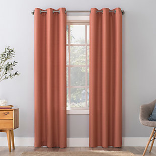 "No. 918 Herschel Slub Texture Semi-Sheer 40"" x 84"" Coral Orange Grommet Curtain Panel, Coral Orange, rollover"