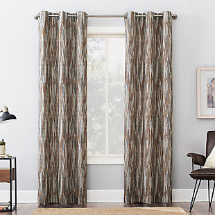 "Sun Zero Ursa Cascading Ikat Theater Grade Extreme 100% Blackout 40"" x 84"" Spice Grommet Curtain Panel, Spice, large"