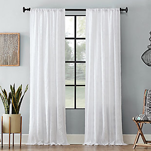 "Archaeo Diamond Fray Cotton 50"" x 84"" White Curtain, White, rollover"