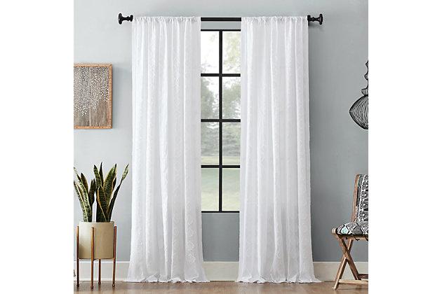 """Archaeo Diamond Fray Cotton 50"""" x 84"""" White Curtain, White, large"""