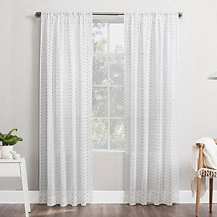 "No. 918 Petani Clipped Swiss Dots Semi-Sheer 52"" x 84"" Gray/White Rod Pocket Curtain Panel, Gray/White, rollover"
