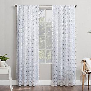 "No. 918 Petani Clipped Swiss Dots Semi-Sheer 52"" x 84"" Gray/White Rod Pocket Curtain Panel, Gray/White, large"