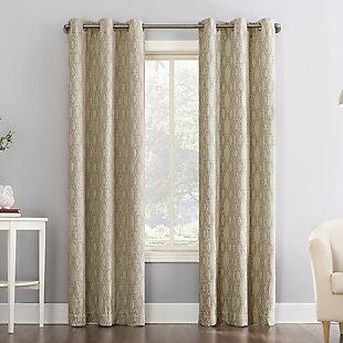 "Sun Zero Houston Tonal Ikat Thermal Extreme 100% Blackout 40"" x 84"" Stone Grommet Curtain Panel, Stone, large"