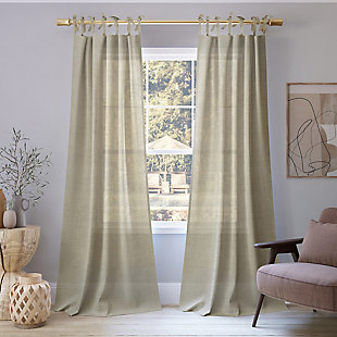 "No. 918 Bethany Slub Textured Linen Blend Sheer 50"" x 84"" Linen Tie Top Curtain Panel, Ecru, rollover"