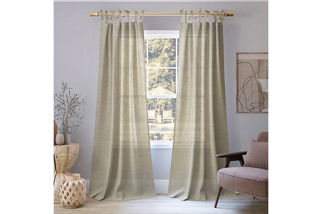 "No. 918 Bethany Slub Textured Linen Blend Sheer 50"" x 84"" Linen Tie Top Curtain Panel, Ecru, large"