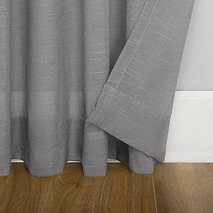 "No. 918 Bethany Slub Textured Linen Blend Sheer 50"" x 96"" Gray Tie Top Curtain Panel, Gray, large"