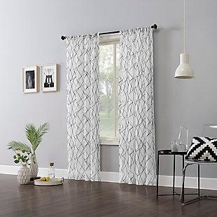 "No. 918 Abstract Geometric Embroidery Semi-Sheer 50"" x 84"" Black Rod Pocket Curtain Panel, Black, large"