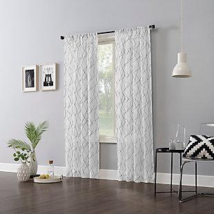 "No. 918 Abstract Geometric Embroidery Semi-Sheer 50"" x 96"" Gray Rod Pocket Curtain Panel, Gray, large"