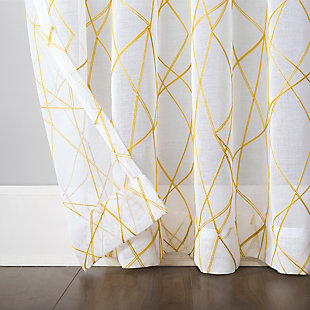 """No. 918 Abstract Geometric Embroidery Semi-Sheer 50"""" x 84"""" Gold Rod Pocket Curtain Panel, Gold, large"""