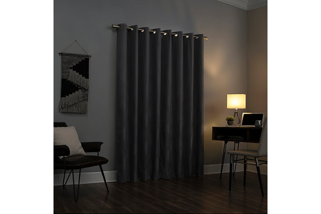 """Sun Zero Beck Geometric Ogee Thermal Extreme 100% Blackout 52"""" x 96"""" Silver Gray Grommet Curtain Panel, Silver Gray, large"""
