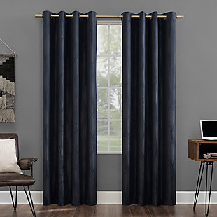 "Sun Zero Beck Geometric Ogee Thermal Extreme 100% Blackout 52"" x 84"" Navy Blue Grommet Curtain Panel, Navy, large"