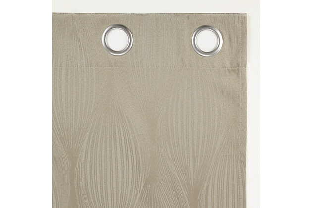 """Sun Zero Beck Geometric Ogee Thermal Extreme 100% Blackout 52"""" x 63"""" Stone Grommet Curtain Panel, Stone, large"""
