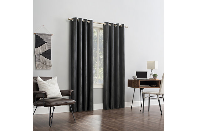 """Sun Zero Beck Geometric Ogee Thermal Extreme 100% Blackout 52"""" x 96"""" Coal Gray Grommet Curtain Panel, Coal Gray, large"""