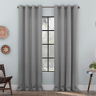 "Clean Window Strie Texture Recycled Fiber Semi-Sheer 50"" x 84"" Silver Gray Grommet Curtain Panel, Silver Gray, large"