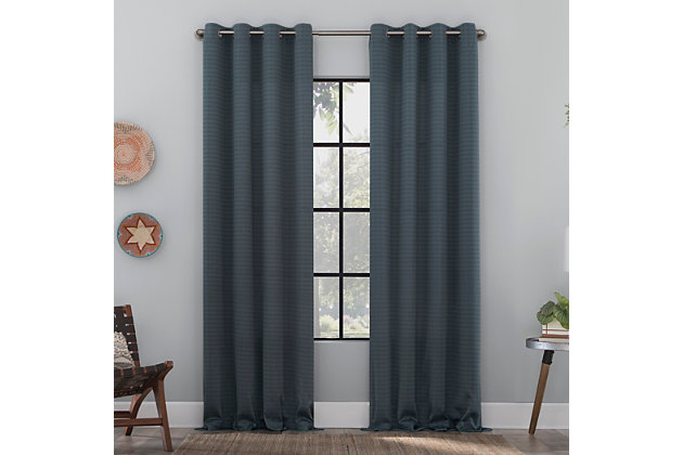 """Clean Window Strie Texture Recycled Fiber Semi-Sheer 50"""" x 96"""" Harbor Blue Grommet Curtain Panel, Harbor Blue, large"""