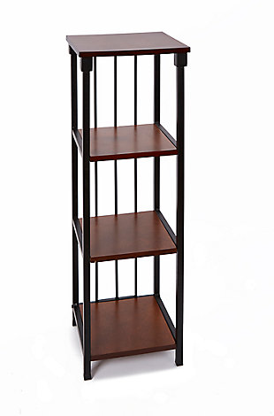 Mixed Material 4-Tier Floor Shelf, Black/Brown, large
