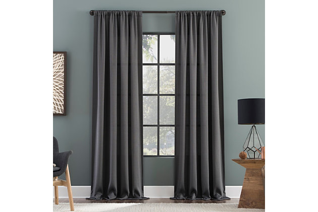 """Clean Window Raw Texture Recycled Fiber Semi-Sheer 50"""" x 96"""" Gray Curtain Panel, Gray, large"""