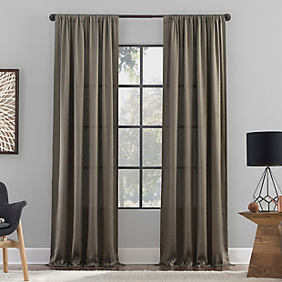 "Clean Window Raw Texture Recycled Fiber Semi-Sheer 50"" x 84"" Mocha Curtain Panel, Mocha, large"