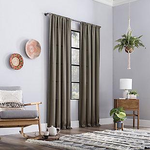 "Clean Window Raw Texture Recycled Fiber Semi-Sheer 50"" x 84"" Mocha Curtain Panel, Mocha, large"
