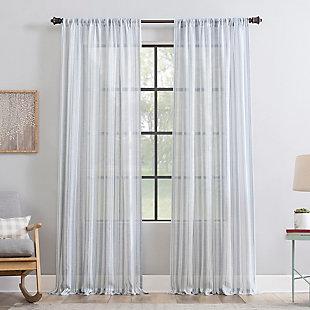 "Clean Window Vintage Stripe Anti-Dust Sheer 50"" x 84"" Vintage Blue Curtain Panel, Vintage Blue, rollover"