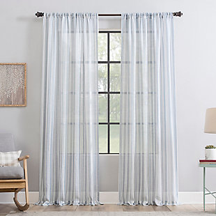 "Clean Window Vintage Stripe Anti-Dust Sheer 50"" x 84"" Vintage Blue Curtain Panel, Vintage Blue, large"